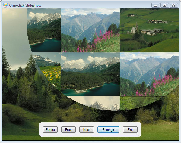 One-click Slideshow displays your digital photos as a beautiful slideshow.